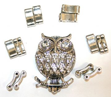 Antique silver owl pendant ring kit with clear rhinestone 12 pcs & elastic 1 pce - S.F07 - 1411132